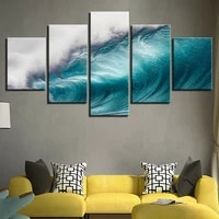 rolling waves ocean seascape 5 pcs canvas picture print wall art canvas painting wall decor for living room no framed