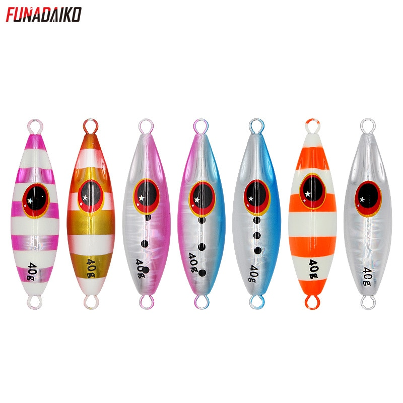 FUNADAIKO Shore cast slow jigging lure sea fishing casting jig artificial glow luminous bait 30g 40g 60g boat lures