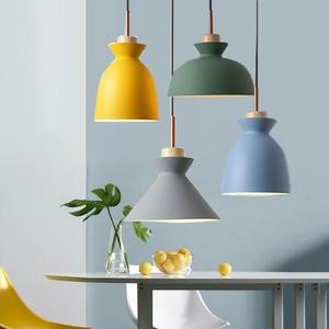 BEIAIDI E27 Nordic LED Wooden Pendant Lamps Iron Macaron Hanging Lamp Kitchen Island Bar Dining Room Pendant Light