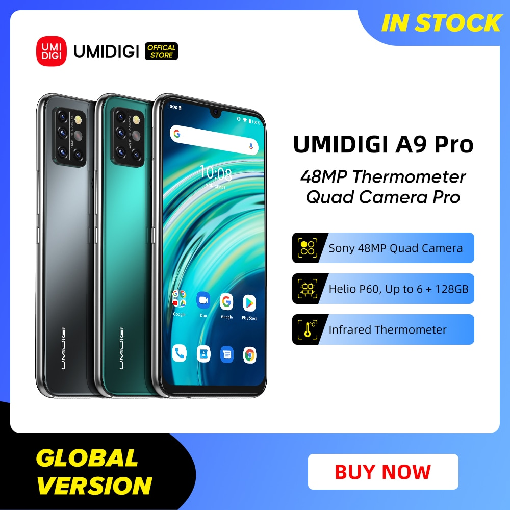 UMIDIGI A9 Pro SmartPhone Unlocked 32/48MP Quad Camera 24MP Selfie Camera 4GB 64GB/6GB 128GB Helio P60 6.3'' FHD+ Global Version