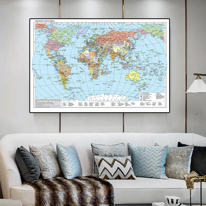 150*100 cm Russian World Map Non-woven Canvas Painting Decorative Picture Modern Wall Art Poster Living Room Home Decoration
