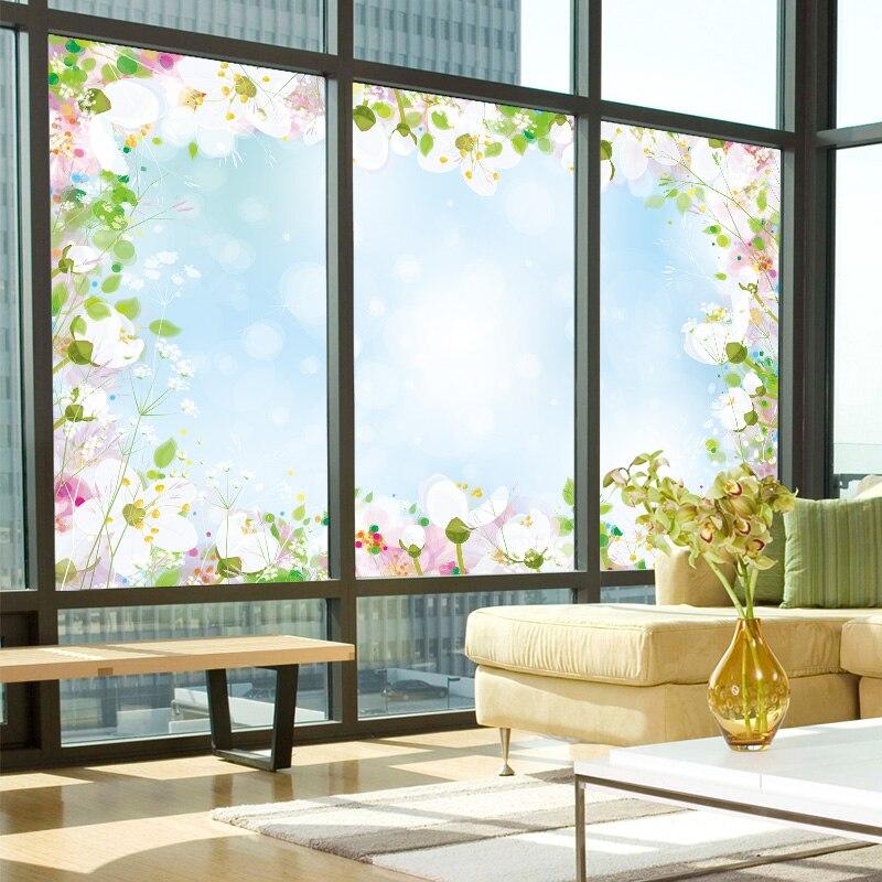 Película de vidrio esmerilado electrostático personalizada para sala de estar, balcón, ventana, adhesivo para oficina, baño, puerta corredera, etiqueta de sombreado