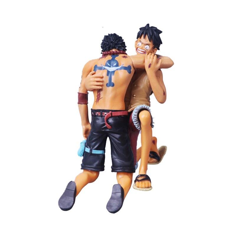 14cm uma peça figura de ação anime macaco d luffy portgas d ace a batalha sobre a cúpula morte modelo coleção brinquedo boneca presente