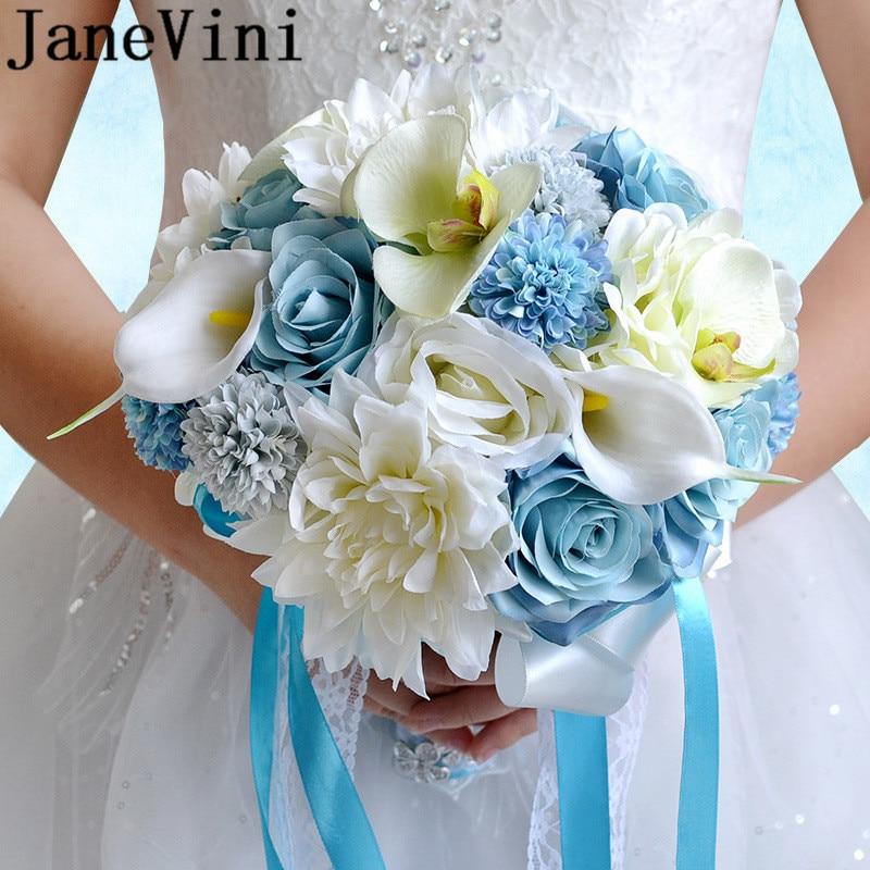 JaneVini ramo de novia occidental azul, seda Rosa Blanca, lirio, orquídea, ramo de novia, ramo de flores de mano para boda 2019