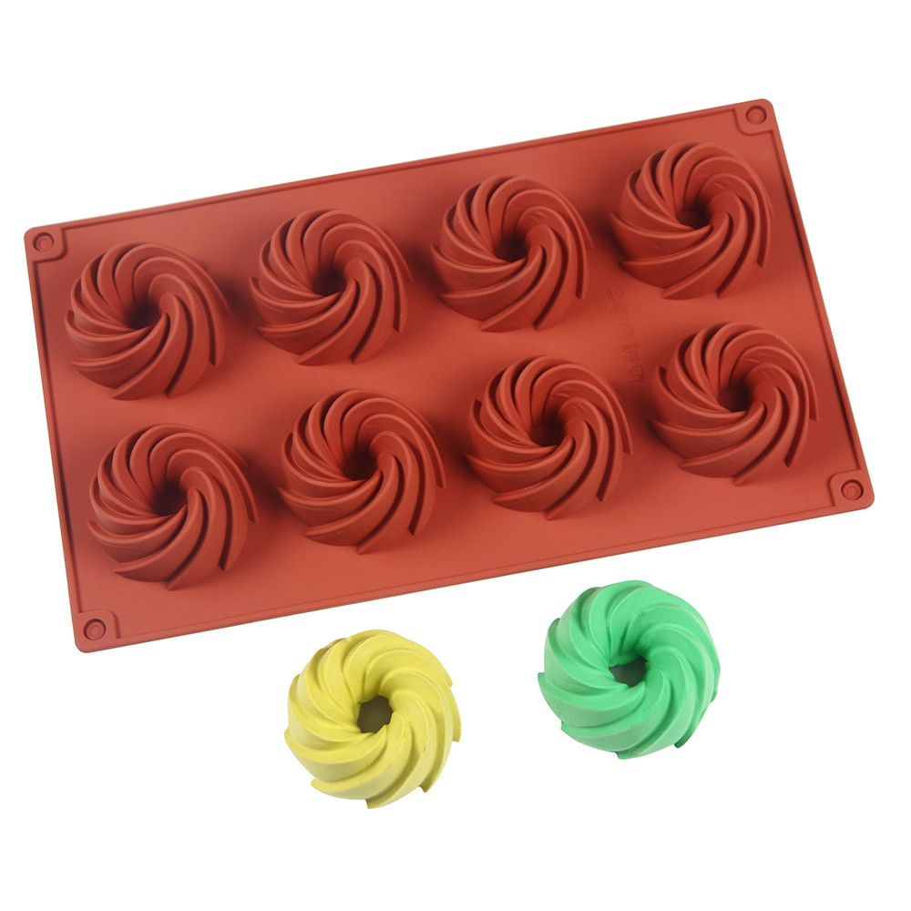 8-полостные силиконовые формы для торта, для выпечки, новые декоративные формы 3D, «сделай сам», спиральный инструмент