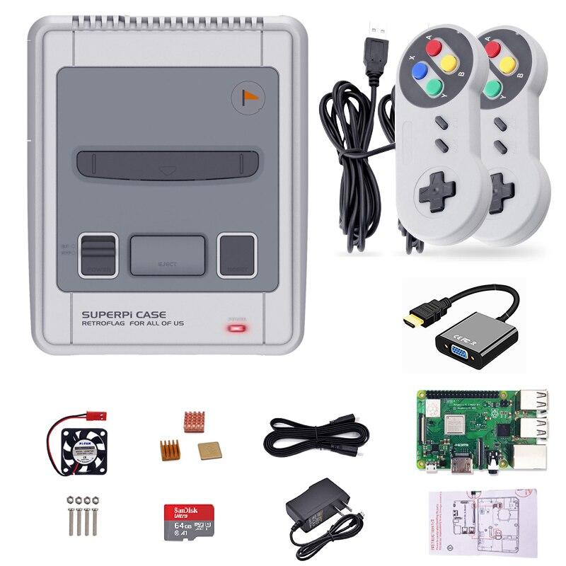 Retroflag SUPERPi Raspberry Pi 3B consola de juegos TV máquina de juegos preinstalación 15000 Retro Juegos con HDMI a VGA 2 controladores