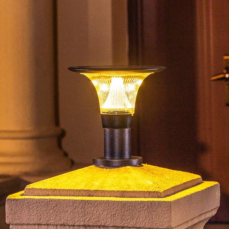 Solar Pillar Lights New Small Flying Saucer Column Head Lamp Outdoor Waterproof Home Villa Wall Lamp Modern Gate Garden Lighting enlarge