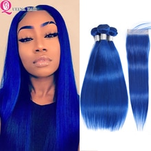 Blue bundles with closure Colored Brazilian Hair Weave Bundles With Closure Straight Human Hair Bundles and Closure Remy Hair
