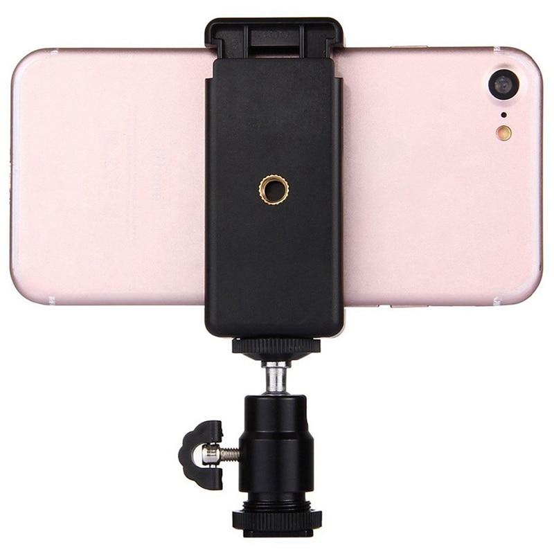 2 In 1 Mobile Phone Clip Holder 360 Ball Head Hot Shoe Adapter Mount Fit For Dslr Slr Camera