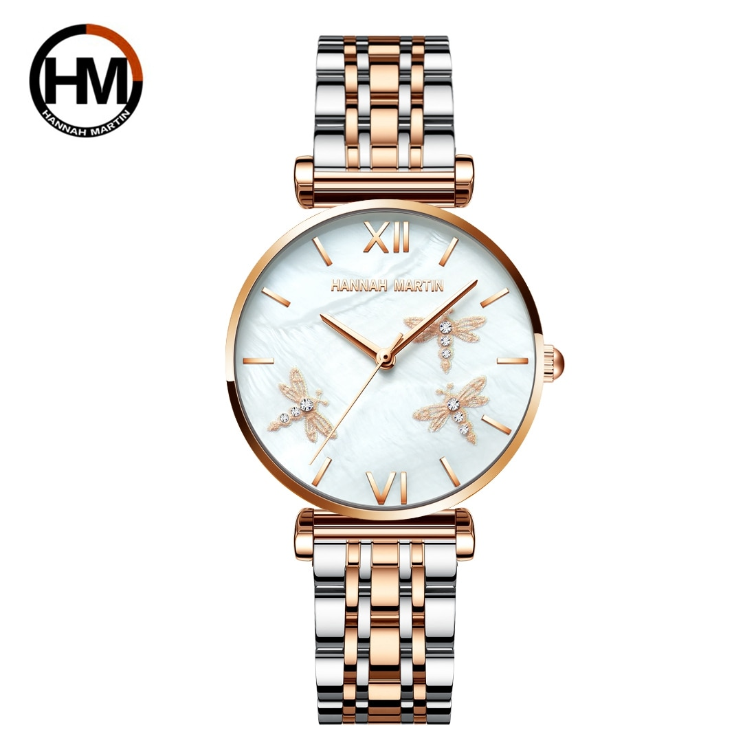 2021 New Design Japan Akoya Pearl Shell Dragonfly Ladies Luxury Diamonds Scallop Stainless Steel Watches For Women Drop Shipping