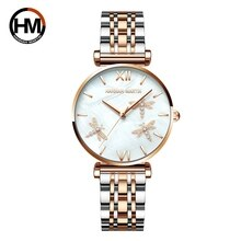 2021 New Design Japan Akoya Pearl Shell Dragonfly Ladies Luxury Diamonds Scallop Stainless Steel Wat