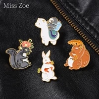cartoon forest animal enamel pin metal badge squirrel alpaca brooches lapel clothes backpack bag hat jewelry gift for kid friend