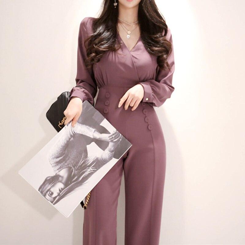 Combinaison à jambes larges de bureau pour les femmes à manches longues col en V pantalons longs Sexy dames taille haute formelle une pièce combinaison