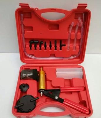 Bomba de vacío manual para coche, adaptador de purgador de frenos para pistola de vacío, Kit de probador de depósito de fluido 2 en 1, Kits de herramientas HT1190