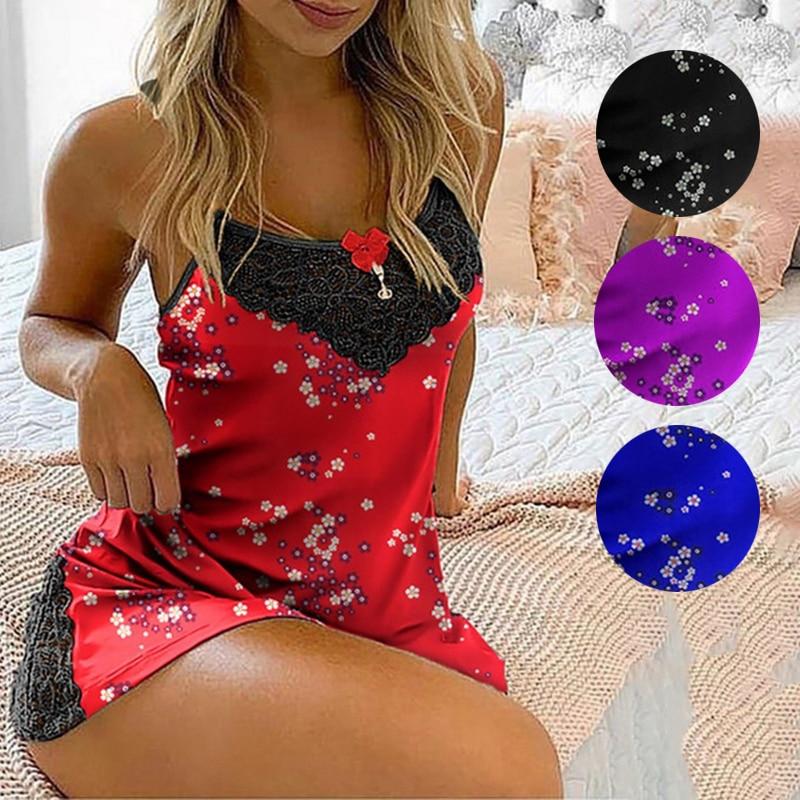 Women Nightgowns Sleepshirts Sexy Lingerie Sleep Lounge Satin Sleepwear Ladies Nightwear Nightdress