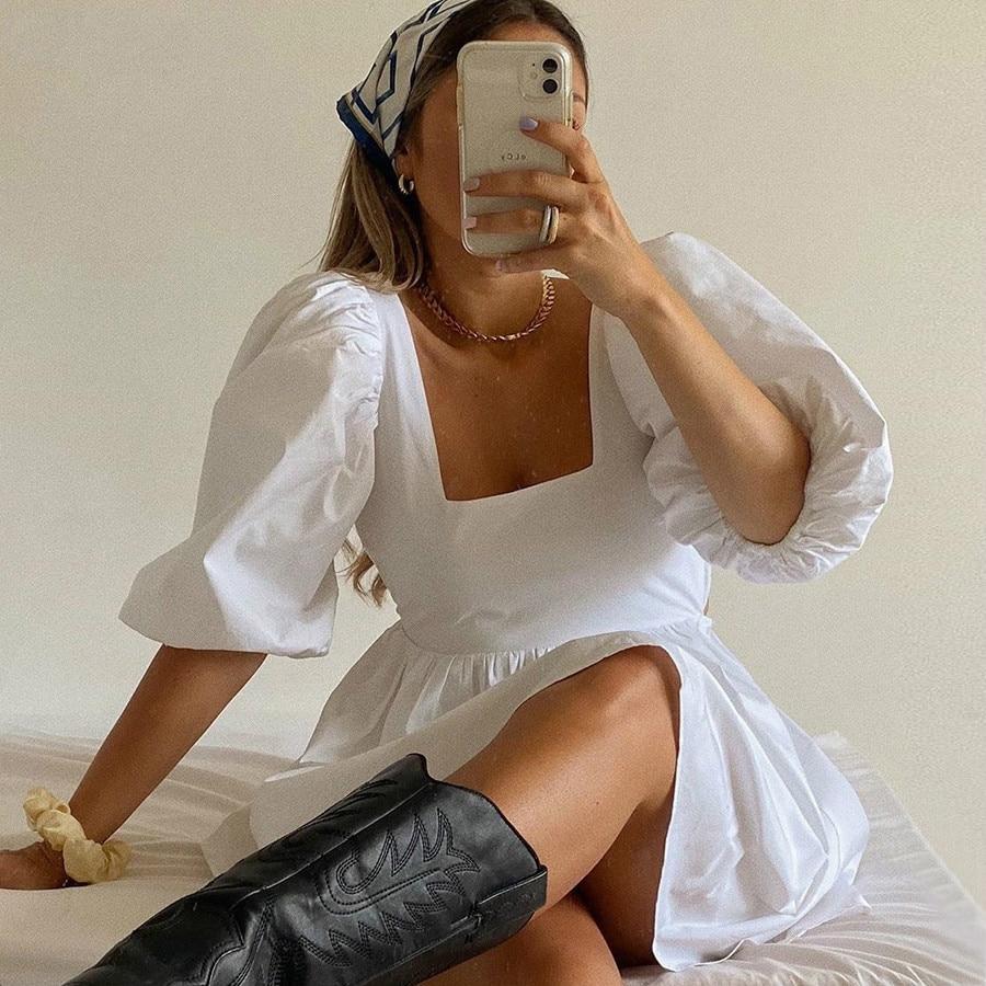 NEDEINS Women Summer Dress Summer Fashion White Elegant Puff Sleeve Backless Party Beach Dress Vacation Casual Mini Dress