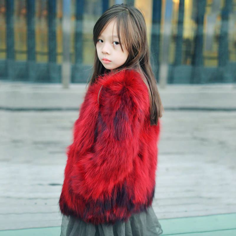 200 New Fashion Winter Kids Girls Real Raccoon Fur Coats Clothes Children Girls Thick Warm Natural Fur Jacket Outerwear W202