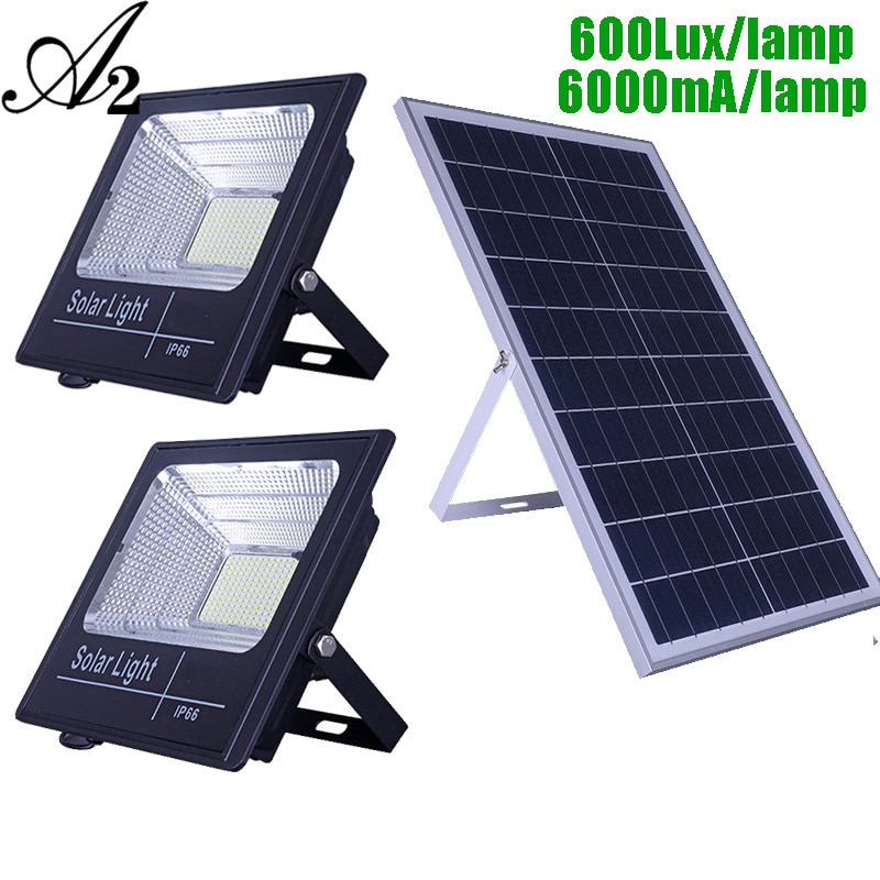 Luz LED Solar de doble cabezal A2, lámpara solar Super Bright100 ④ 12000 mA, gran capacidad de batería, foco inalámbrico para exteriores Waterproo