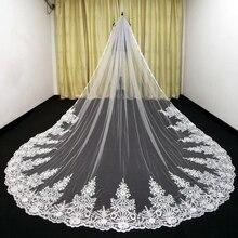 Velos de boda de lujo de 3M hechos a medida con apliques de encaje, velos de longitud de catedral larga, velo de novia de tul de una capa hecho a medida