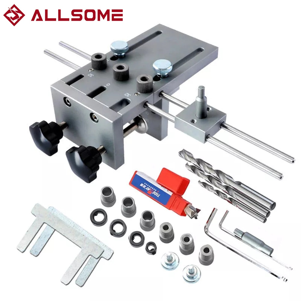 ALLSOME 6/8/10 mm Drill Bushing Wood Drilling Guide Locator Adjustable Dowel Jig Kit  3 In 1 Dowelling Jig For DIY Tool