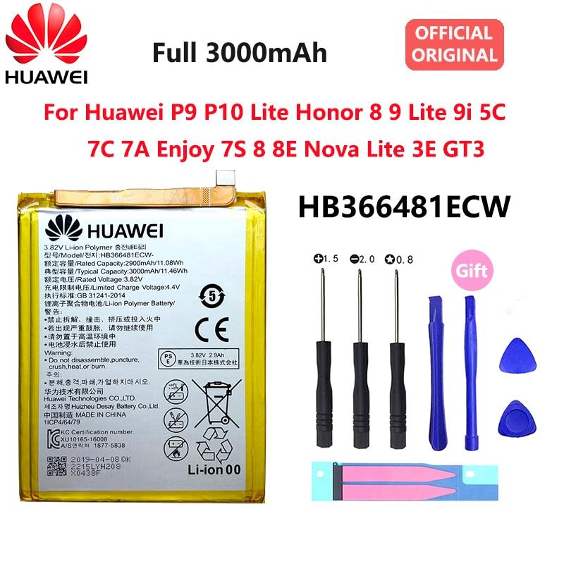 Original HUAWEI Honor 8 Battery Honor 8 Lite 9 HB366481ECW Real 3000mAh for HUAWEI P9 P Smart P9 P10 P20 Lite Honor 5C 2018 new 100% original hb366481ecw real 3000mah battery for huawei p9 ascend p9 lite g9 honor 8 5c battery