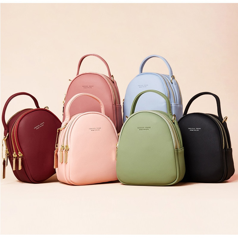 Big Capacity 3 Layer Women Backpack Fashion Small Backpack Ladies Shoulder Crossbody Bag Soft Leather Female