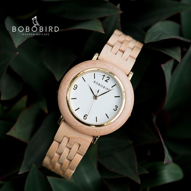 Часы BOBOBIRD женские наручные с деревянным ремешком, Роскошные, ручной работы, подарок для женщин в коробке