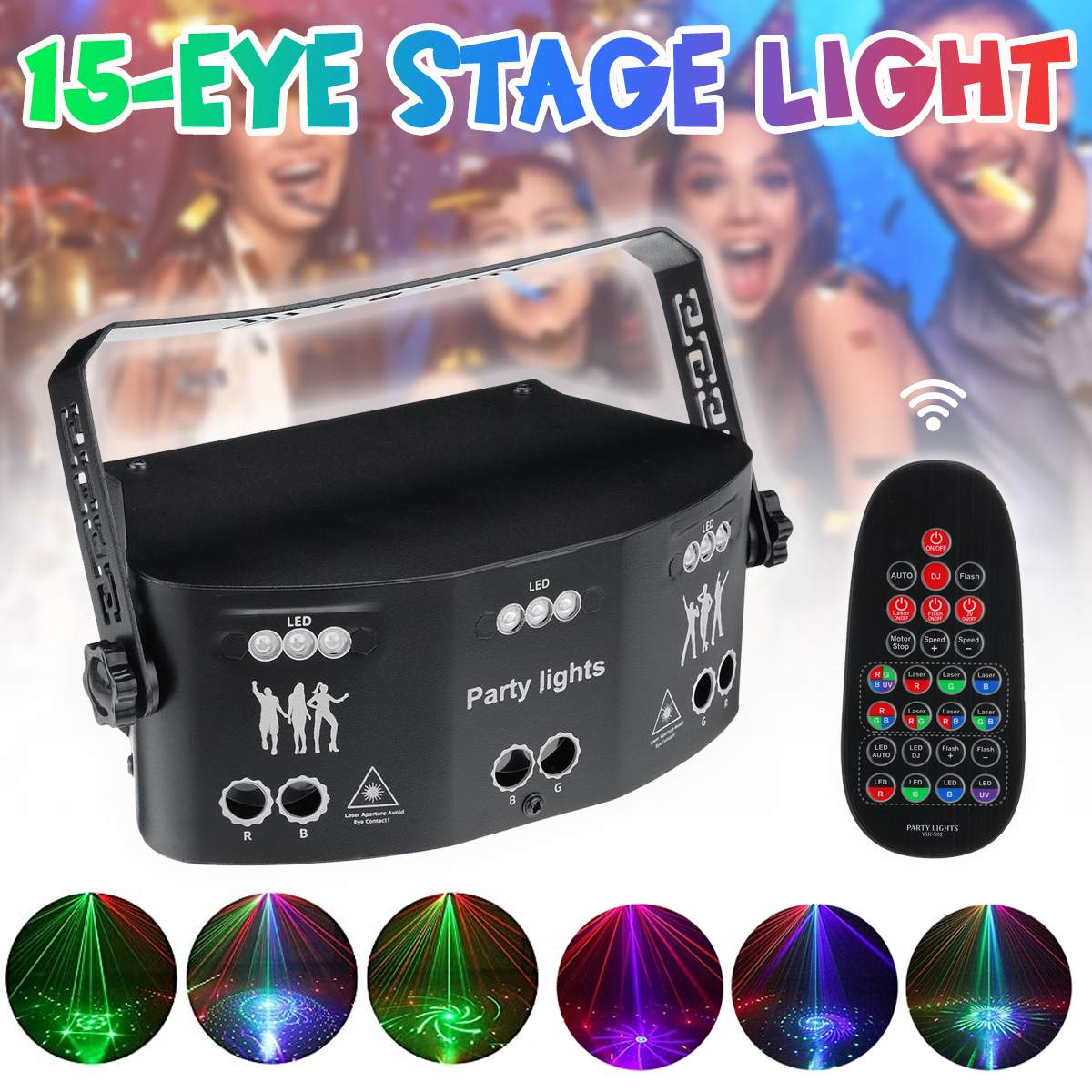 Лазерный светодиодный прожектор 15 Глаз DMX DJ диско освещение голосовой контроллер музыка вечевечерние световой эффект для спальни украшение для дома