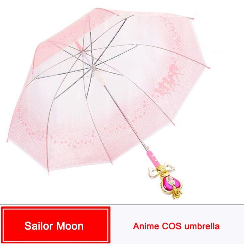 SzBlaZe Anime Sailor Moon Cosplay paraguas Magic Wand mango automático bumbershoot para lindas chicas Kawaii