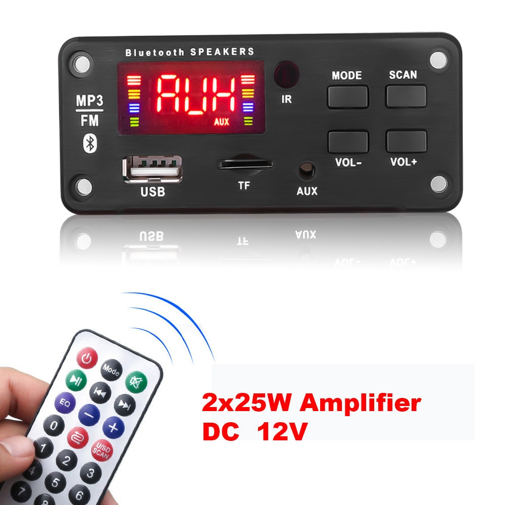 Усилитель MP3 декодер плата цветной экран Bluetooth V5.0 Автомобильный MP3-плеер USB записывающий модуль FM-радио для динамика