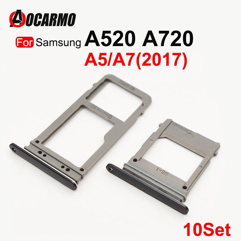 Aocarmo 10Pcs SIM Card Tray For Samsung Galaxy A520 A720 A5 A7 2017 Single Dual SIM Card Reader Sim