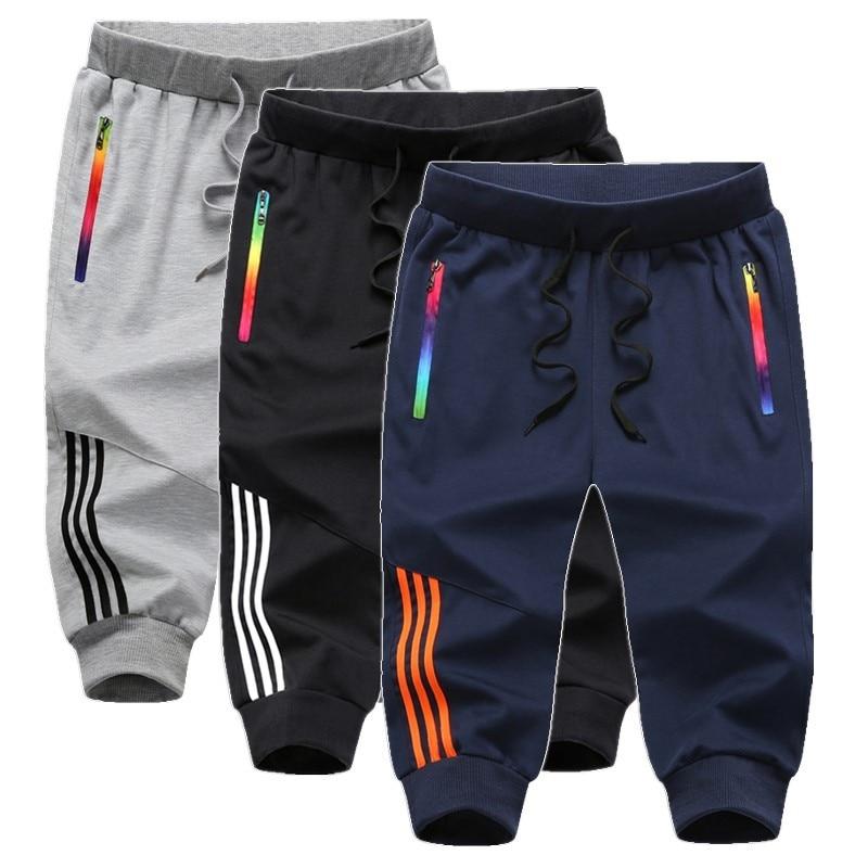 Летние капри из 100% хлопка, летние брюки, мужские спортивные повседневные брюки, свободные и жирные бриджи для мужчин