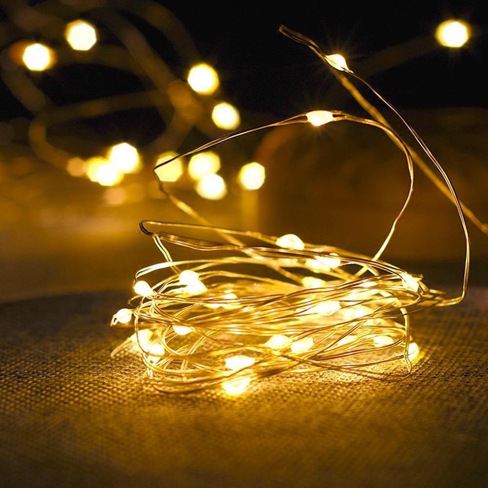 Fairy Lights Copper Wire LED String Lights Christmas Garland Indoor Bedroom Home Wedding New Year Decoration Battery Powered