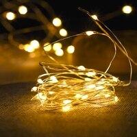 Гирлянда, светодиодная на медном проводе с питанием от батарейки