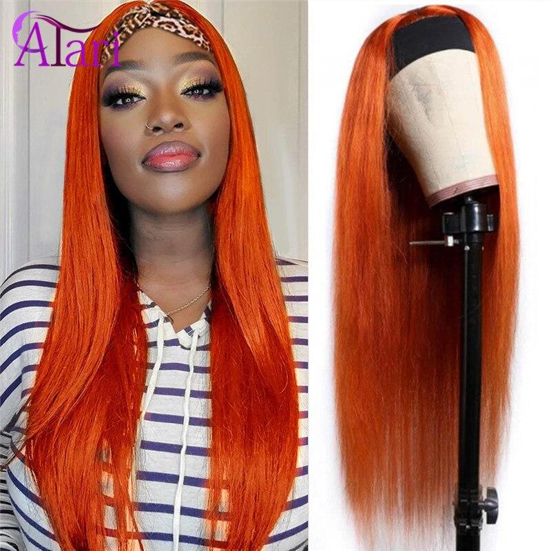 Ginger Orange Highlight Wigs for Black Women Headband Wig Malaysian Straight Human Hair Wigs WholeSale Price 180 Density Wigs