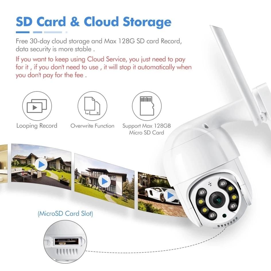 Wifi Cmara al aire libre 4X Zoom Digital AI humanos detectar cmara inalmbrica H.265 P2P de Audiouridad cmara IP CCTV enlarge