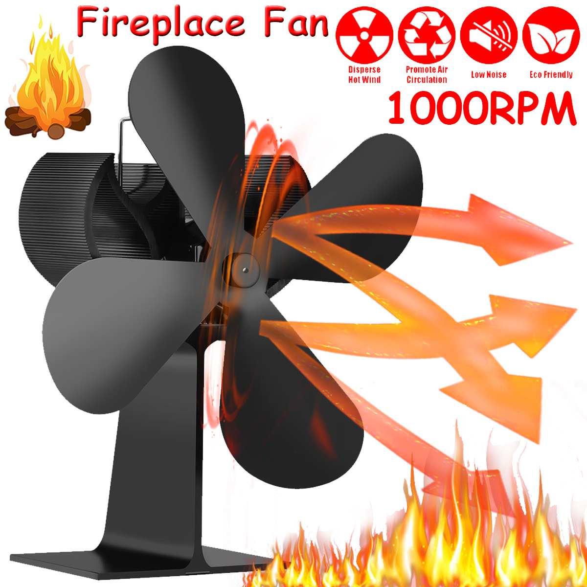 أسود الموقد 4 شفرات الحرارة بالطاقة موقد مروحة قطعة خشبية سميكة الموقد هادئة توزيع الحرارة الموقد مروحة الحطب موقد مروحة
