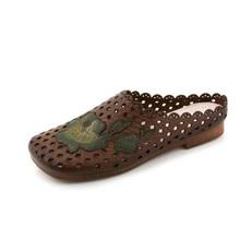 Retro genuine Leather flat sandals women brown, black summer flat women shoes Hollow flower soft bottom slippers ladie sandals