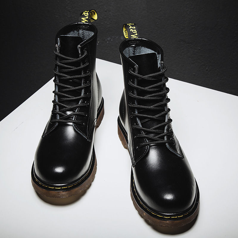 New 2021 Men Leather shoes High Top Fashion Winter Warm Snow Dr. Motorcycle Ankle Boots Couple boots Unisex