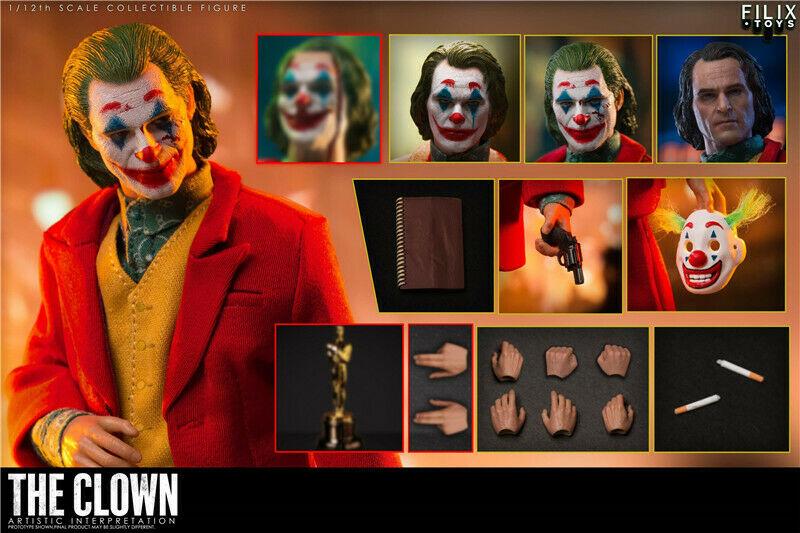 Figura del Joker Joaquin Phoenix de 6 pulgadas, modelo FILIX TOYS a escala 1/12, con 4 Uds. De cabeza tallada, preventa