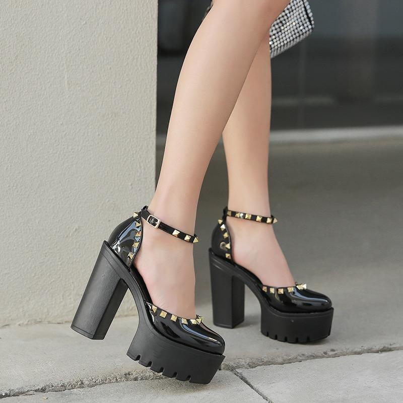 Women's Pumps Ankle Strap Square Heel Round Toe Party Super High Heels Buckle Strap Platform Rivet Shoes Women Sandalias Mujer