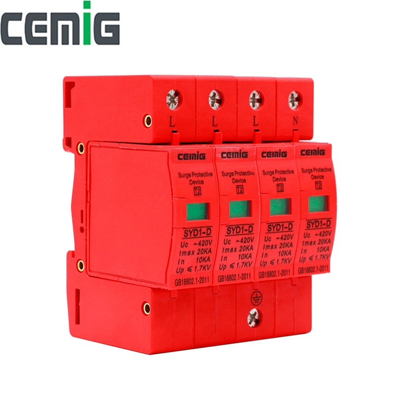 Cemig SYD1-D جهاز حماية عرام SPD 4P AC420V 20kA الجهد المنخفض حامي البرق الحماية