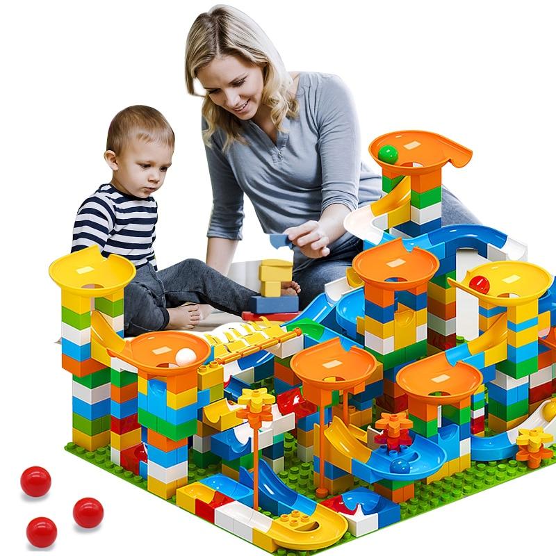 Marble Race Run Big Block Maze Ball Building Blocks Funnel Slide Blocks DIY Big Bricks Toys For Children Gift