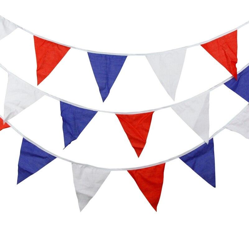 Tricolor algodón triángulo bandera niños cumpleaños Bandera de decoración boda Fondo arreglo papel tapiz