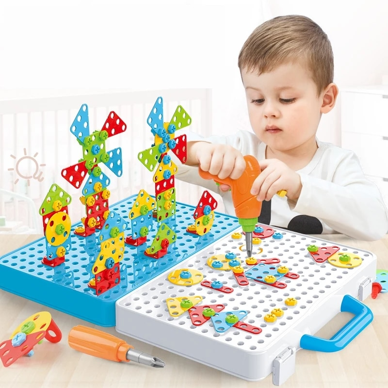 Electric Drill Puzzle Kids Drill Screw Nut Puzzles Toys Pretend Play Tool Drill 3D Puzzle Trendy Bits Drilling Set Children Gift
