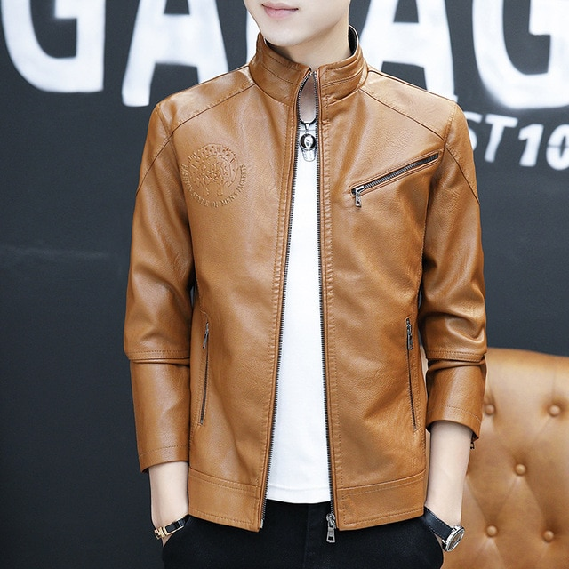 New Spring and Autumn Zipper-Pockets Jacket 2020 Men's Korean Version Slim-fitting Stand-up PU Leather Jacket 6