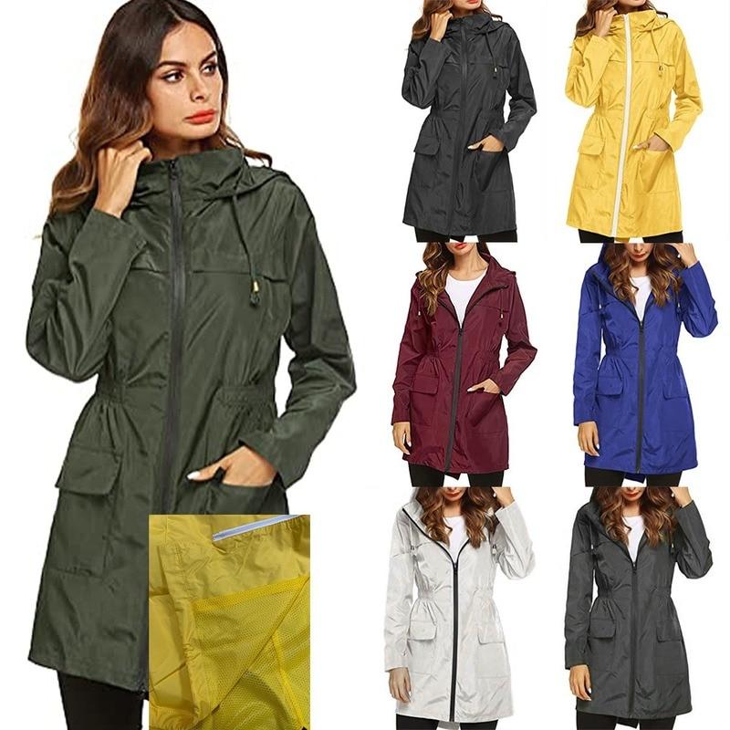 Тренчкот женская одежда уличная спортивная штурмовая куртка осенняя одежда дождевик с капюшоном на талии Длинная ветровка Женская куртка
