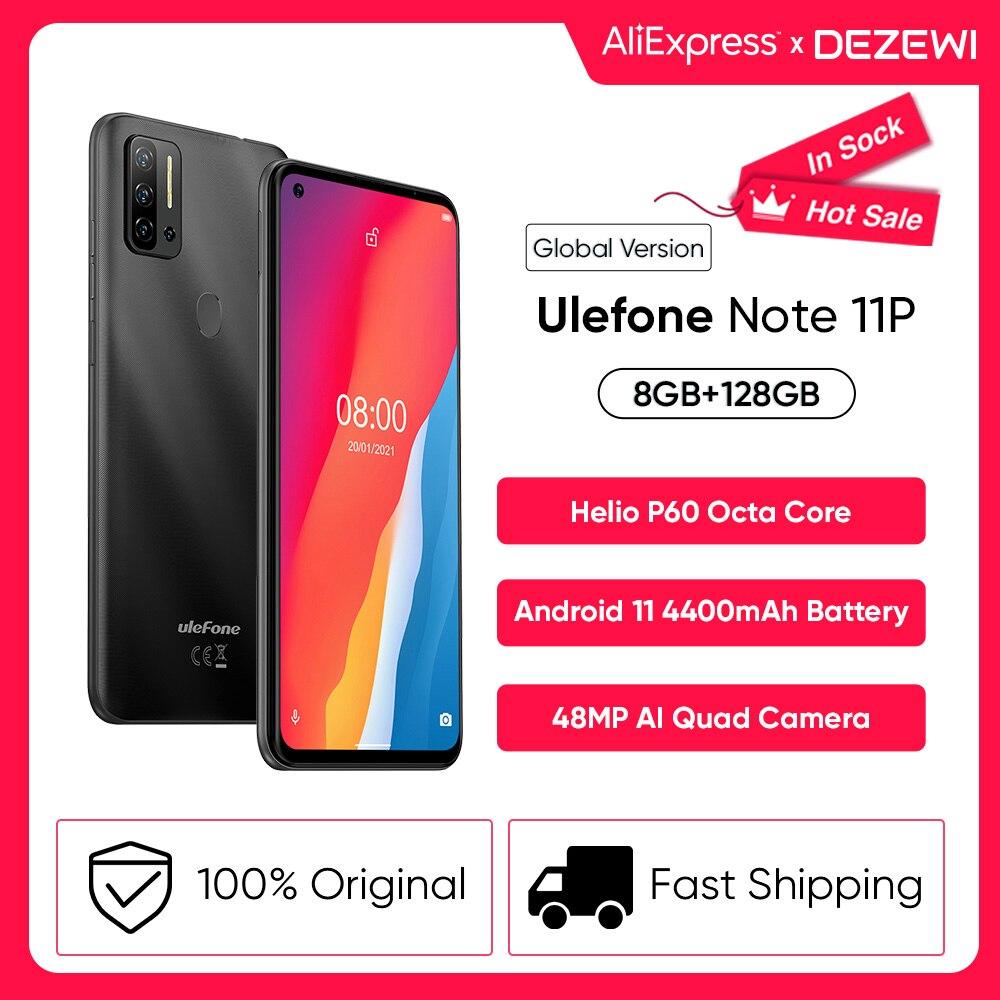 Перейти на Алиэкспресс и купить Чехол-накладка Ulefone Примечание 11P Android 11 смартфон 8 ГБ + 128 ГБ 3-слот для карт памяти масштабным видением 4400 мА/ч, Батарея 48MP Quad Camera 6,55 дюйммобильный ...