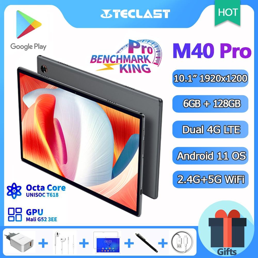New Release Teclast M40 Pro 10.1 Inch Tablet Android 11 Octa Core 6GB RAM 128GB ROM 1920x1200 IPS 4G Network 5G WiFi 7000mAh GPS