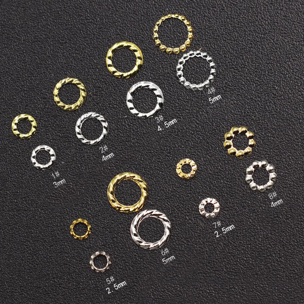 10000 pçs ouro prata oco cânhamo grinalda 3d decorações da arte do prego anel prego rebite diy dicas encantos jóias acessório por atacado quente